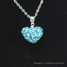 Joya завод Shamballa ожерелье оптовая форме сердца новое прибытие синий кристалл глины Shamballa с серебряными цепочками ожерелье