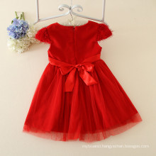 Red kid clothing baby girl party dress flower girl dress for 3-7years old girls clothing dresses