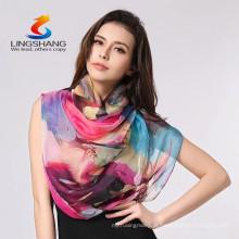 Lingshang New Moda Mulher Longo Wrap Ladies Shawl impressão lenço de seda