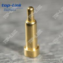 SMT Pogo Pin com contato único, com mola, banhado a ouro