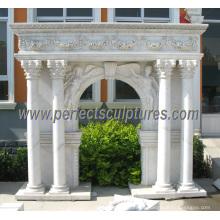 Lareira de mármore esculpida para escultura de pedra interior (QY-LS343)