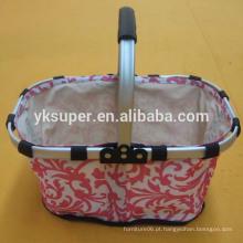 Carrinho de compras de churrasco ao ar livre, cestas de armazenamento, cesta de piquenique portátil