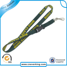 Promotion Souvenir Keychain Woven Neck Lanyards with Plastic Buckle