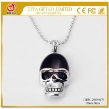 Black Onyx Skull Gemstone Pendant Necklace with Silver chain
