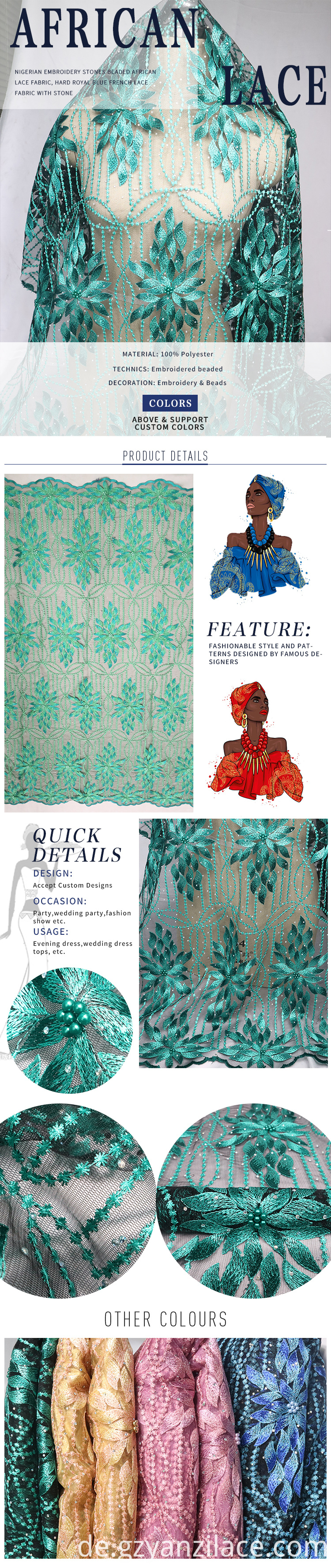 Green African Net Lace Pearl Embroidery Fabric