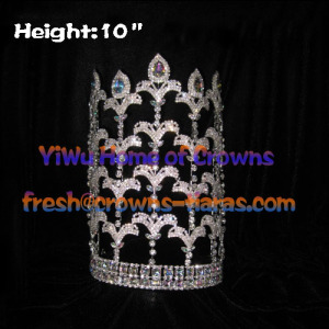 10-Zoll-Fleur De Lis Strass einstellbar Pageant Kronen