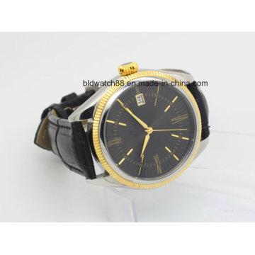 Kundenspezifische Sport-Goldtone Lederband-automatische Armbanduhr-Männer