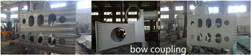 Steel dredge bow coupling