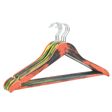2019 Factory custom cracked wooden coat hanger display for clothes
