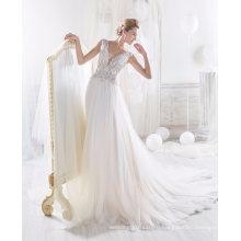 2017 Новейшие Бисероплетение Тюль Свадебное Платье