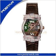 Reloj de cuero de cuarzo suizo de acero inoxidable unisex de gama alta irregular