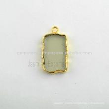 Wholesale Fine Quality Green Amethyst Quartz Slice Bezel Charm, Micron Gold Plated Sterling Silver Gemstone Bezel Charm