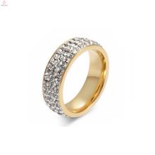 Nouvelle conception d'anneau d'or de doigt de bijoux en acier de titane pour des dames