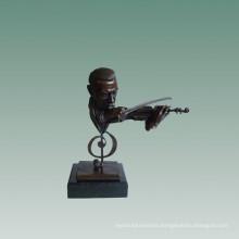 Busts Brass Statue Violinist Decoration Bronze Sculpture Tpy-758