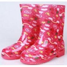 Дети ПВХ дождя сапоги, очистить желе ботинки девушки