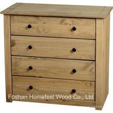 Cabinet de coiffeuse à 4 tiroirs en bois antique (HC16)