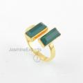 Оптовый Поставщик для зеленый Оникс кольцо 18k золото Оникс драгоценный камень кольца ювелирные изделия