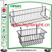 Cesta colgante de la cesta del acoplamiento de alambre del supermercado para la barra cruzada del estante