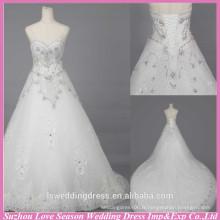 WD6018 Qualité tissu lourd fait à la main exportation qualité cristal alibaba robe de mariée longues robes de mariée en dentelle