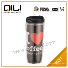 changeable photo insert paper plastic travel mug with silicone lid