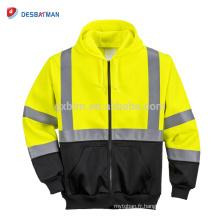Vente chaude haute visibilité Classe 3 Salut-Vis Sweat-shirt Zip à capuche pleine fond noir