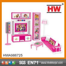 Brinquedo da menina quente da roupa plástica do rosa da mobília da sala de visitas