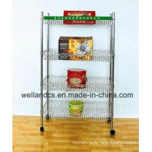 Multifunctional Modern Adjustable Chrome Metal Basket Rack for Home (BK603590A4CW)