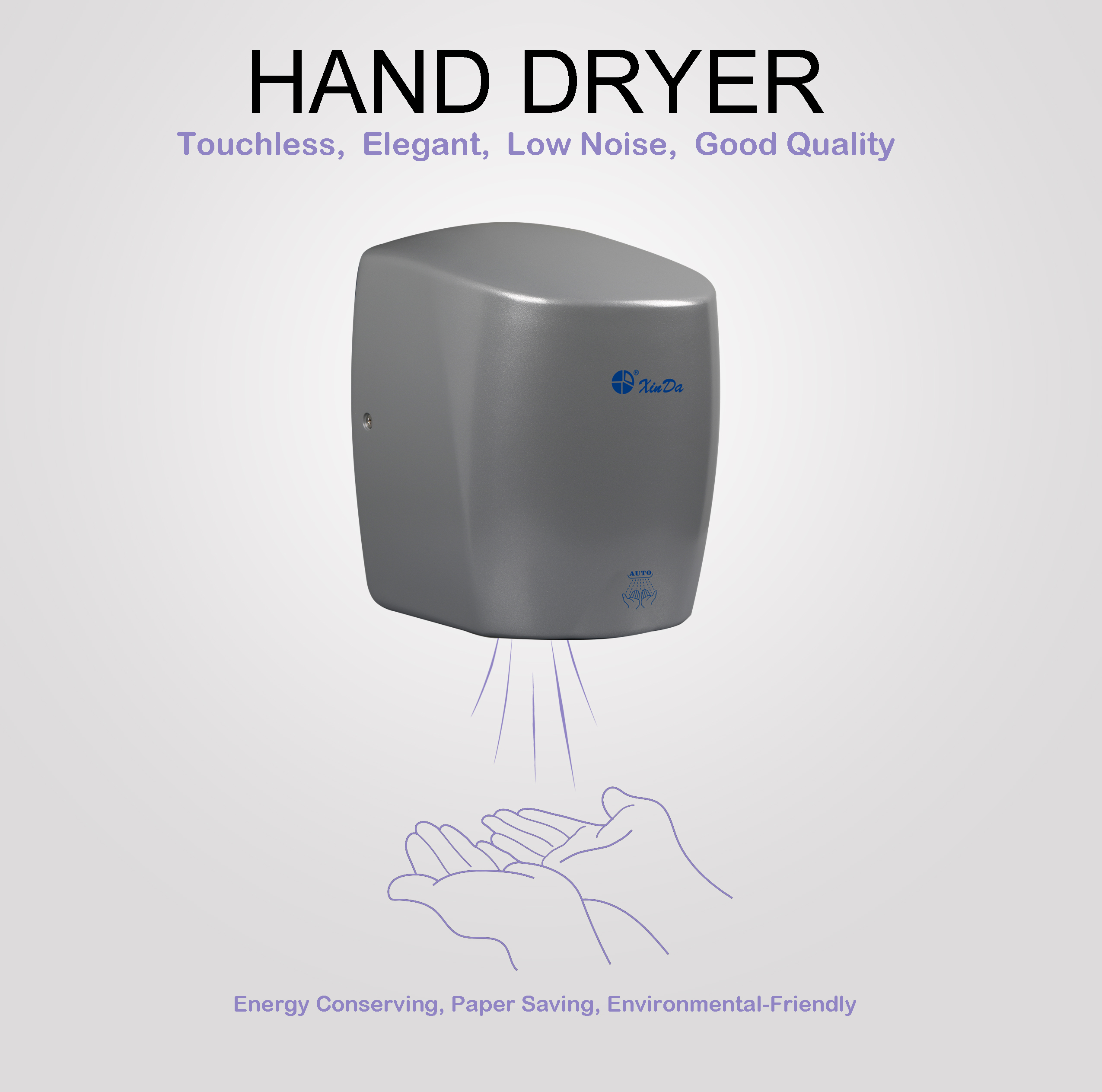 High efficiency waterproof induction hand dryer