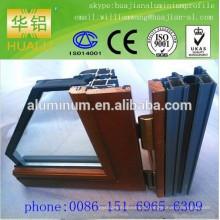 China lowest price wood- aluminium windows and profile, extrusion aluminium windows profile,