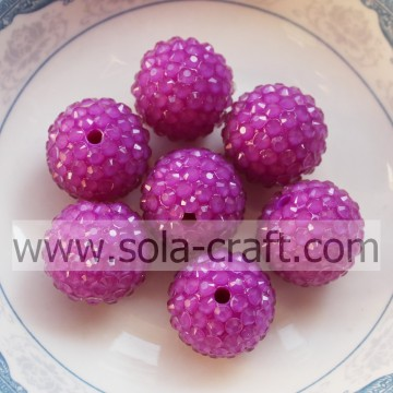 18*20MM Purple Wholesales Price Fluorescence Resin Rhinestone Ball Beads