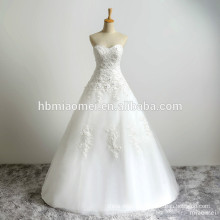 Customized ball gown bride wedding strapless lace with neat simple plus size christian wedding dress lace