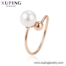 15320 xuping chine marchandises en ligne vente super populaire perlé doigt anneau en placage 18k avec précieux perle blanche