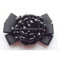 Black Acrylic Beads Centered Fabirc Shoe Flower for Women's Top-Toe High Heel