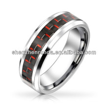 Tungsten Ring Black Red Carbon Fiber Inlay Wedding Band 8mm China supplier