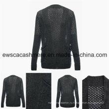 Сексуальный женский кашемир смесь свитер с ажурной вышивкой