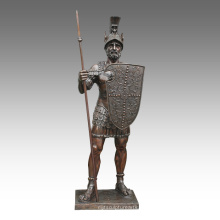 Figura grande Estatua Lanza Guerrero Bronce Escultura Tpls-093