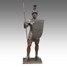 Large Figure Statue Spear Warrior Bronze Sculpture Tpls-093