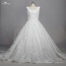 TW0167 3d Fllowers Rhinestone Beaded Lace Fabric Elegant Princess Wedding Dresses