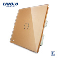 UK standard Luxury Crystal Glass Panel 1 Gang 1 Way Smart Home Light Switch/Wireless Remote Touch Switch VL-C301R-63