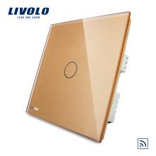 Panneau en verre de cristal standard de luxe au Royaume-Uni, un interrupteur de maison intelligente à 1 voie / interrupteur tactile à distance sans fil VL-C301R-63