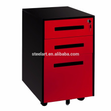 3 drawer metal mobile file cabinet with lock wheels
