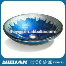 Single Hole Blue Color Wash Basin Design Elegant Newest Cheap Glass Bowl