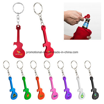 Promotional Aluminum Bottles Opener Keychains with Guitar-Shaped