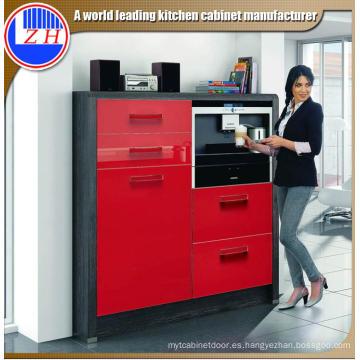 Gabinete de cocina rojo recubierto de UV