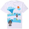 Schönes Druck-Weiß-Baumwollunisex-T-Shirt für Förderung