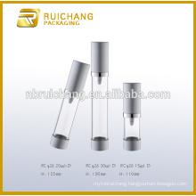 15ml/20ml/30ml aluminium cosmetic airless bottle,metallic cosmetic airless bottle,cosmetic pump bottle