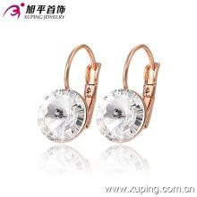 28666 nova moda elegante jóias de cristal brinco de argola em liga de cobre