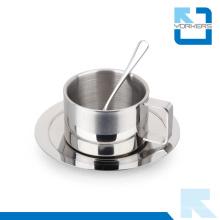 Coupe de café en acier inoxydable de haute qualité de 3 pièces et tasse avec cuillère