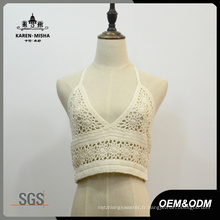 Femmes sexy blanc coton col en V Bikini Top Beachwear
