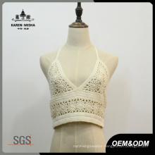 Women Sexy White Cotton V Neck Bikini Top Beachwear